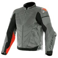 Кожаная куртка Dainese Super Race Perforated Charcoal Gray Gray Fluo Red